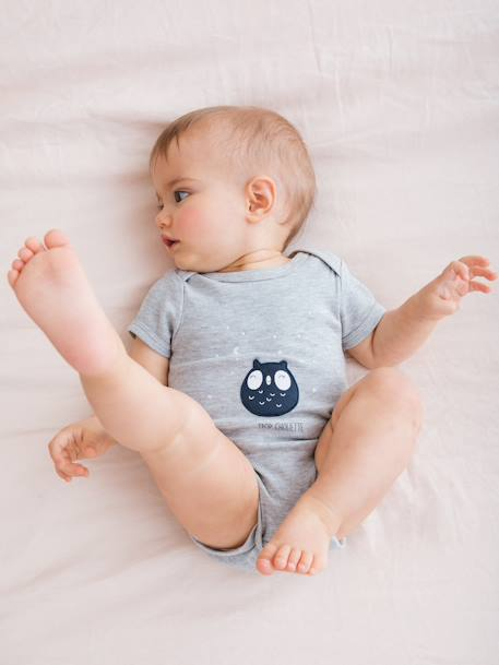 Short-Sleeved Bodysuit for Babies in Pure Cotton GREY LIGHT MIXED COLOR+WHITE LIGHT SOLID WITH DESIGN - vertbaudet enfant
