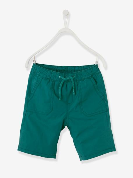 Reversible Bermuda Shorts for Boys BLUE DARK ALL OVER PRINTED+BLUE MEDIUM ALL OVER PRINTED+GREEN DARK ALL OVER PRINTED - vertbaudet enfant