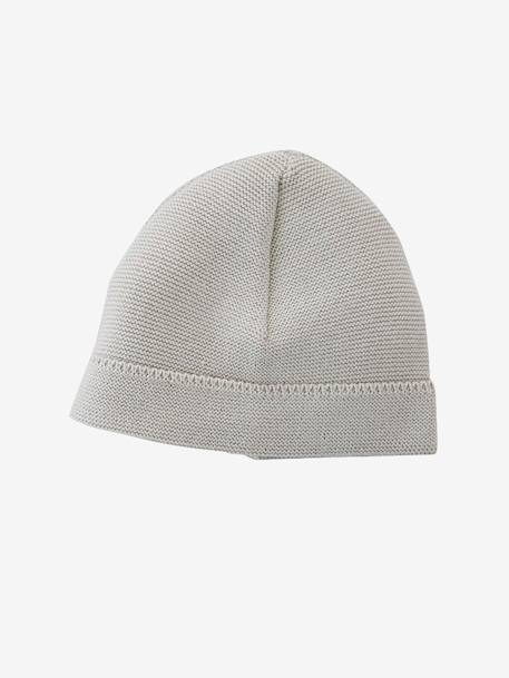 Baby Knit Hat & Ankle Boots, Organic Collection Pale grey+White - vertbaudet enfant