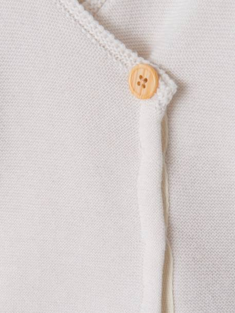 Organic Collection Cotton & Wool Baby Cardigan Ivory - vertbaudet enfant