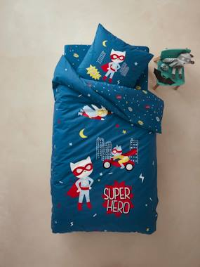 household linen-Children's Duvet Cover + Pillowcase Set, Super Cat Theme