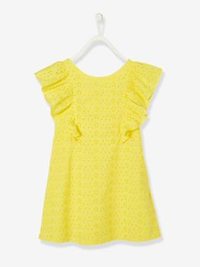 Dresses-Dress in Broderie Anglaise, for Girls