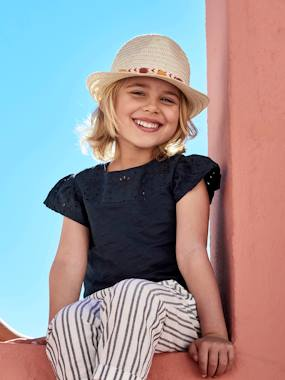 Girls-Tops-T-Shirt for Girls, with Broderie Anglaise and Ruffled Sleeves
