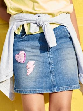 Girls-Skirts-Denim Skirt with Sequinned Patches, for Girls