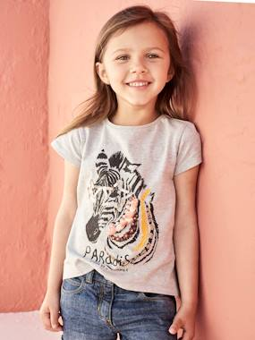 Vertbaudet Sale-Girls-Embroidered T-Shirt for Girls, with Tassels