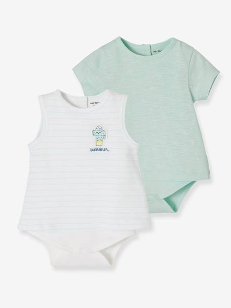 Pack of 2 Assorted Bodysuit T-shirts for Baby Boys GREEN LIGHT 2 COLOR/MULTICOLOR - vertbaudet enfant