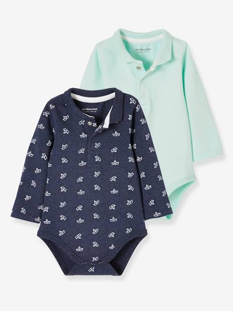 Lot de 2 bodies bébé à col LOT BLEU ROYAL - vertbaudet enfant