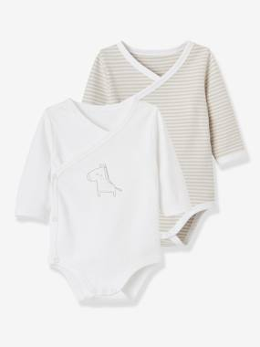 Baby-Bodysuits & Sleepsuits-Pack of 2 Organic Cotton Bodysuits for Newborns