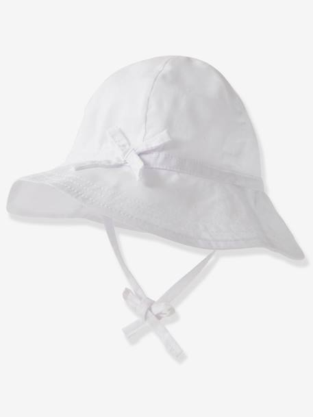 Sun Hat for Babies WHITE LIGHT SOLID - vertbaudet enfant