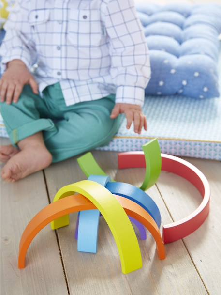 Wooden Rainbow-Shaped Puzzle YELLOW BRIGHT 2 COLOR/MULTICOL - vertbaudet enfant