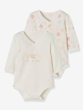 Baby-Bodysuits & Sleepsuits-Pack of 2 Stretch Cotton Bodysuits for Newborns, Fish in Water