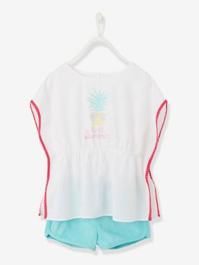 Girls-Tops-T-Shirts-Tunic & Shorts Ensemble for Girls, Pineapple Motif