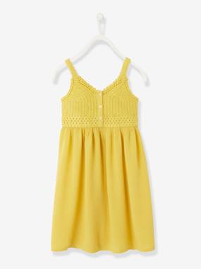 Girls-Dress with Straps, in Macramé & Cotton Gauze