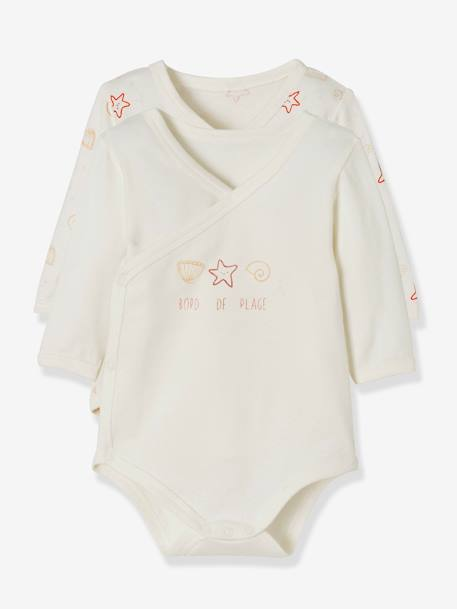 Pack of 2 Stretch Cotton Bodysuits for Newborns, Fish in Water GREY LIGHT TWO COLOR/MULTICOL+PINK LIGHT 2 COLOR/MULTICOL R+WHITE LIGHT TWO COLOR/MULTICOL - vertbaudet enfant