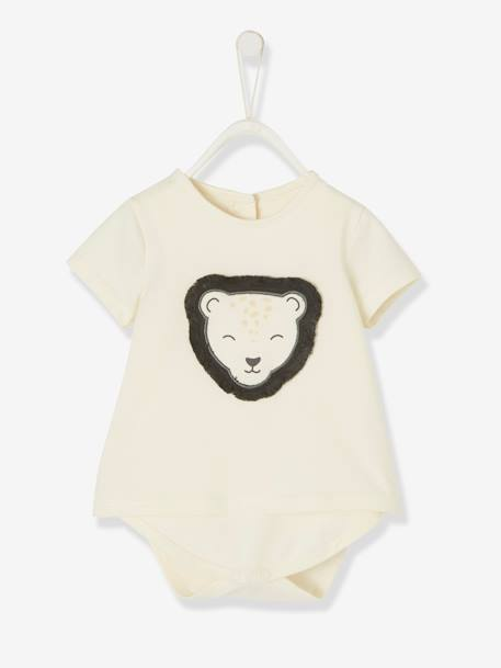 Bodysuit T-shirt with Lion Motif in Relief for Babies WHITE MEDIUM SOLID - vertbaudet enfant