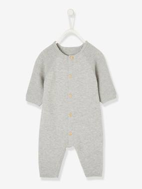 Vertbaudet Sale-Baby-Jumpsuit for Newborn Babies in Organic Cotton Knit