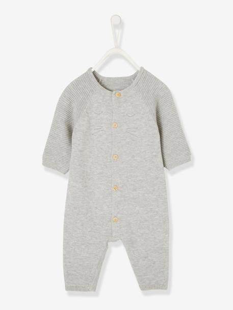 Jumpsuit for Newborn Babies in Organic Cotton Knit BEIGE LIGHT SOLID+GREY LIGHT MIXED COLOR - vertbaudet enfant