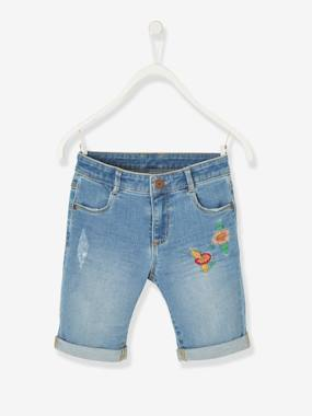 Girls-Shorts-Denim Bermuda Shorts with Flower Embroidery, for Girls
