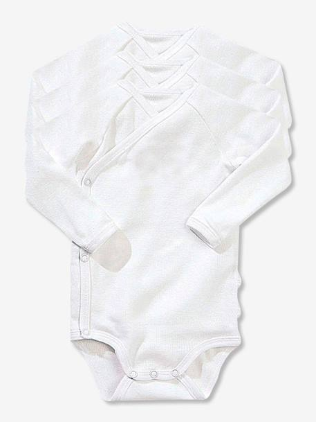 Newborn Baby Pack of 3 Long-Sleeved White Bodysuits in Pure Cotton White - vertbaudet enfant