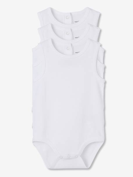 Baby Pack of 3 Pure Cotton White Bodysuits with Straps White - vertbaudet enfant