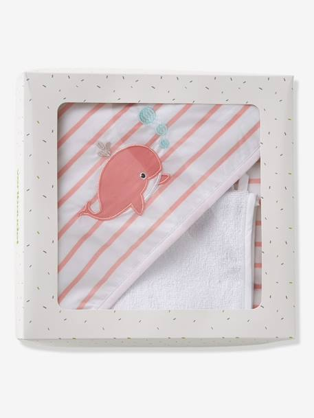 Gift Box with Baby Bath Cape + Wash Mitt, WHALE Theme PINK LIGHT SOLID WITH DESIGN - vertbaudet enfant