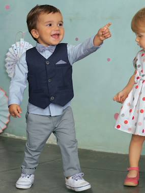 Vertbaudet Collection-Baby Boys' Cardigan, Shirt, Bowtie & Trousers Outfit Set