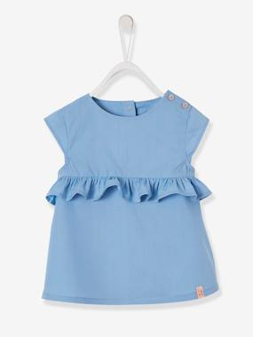 Baby-Blouses & Shirts-Blouse with Ruffles on the Front, for Baby Girls