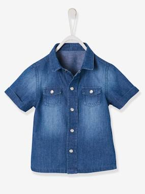 Baby-Blouses & Shirts-Short-Sleeved Denim Shirt for Baby Boys