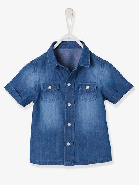 Short-Sleeved Denim Shirt for Baby Boys BLUE DARK WASCHED - vertbaudet enfant
