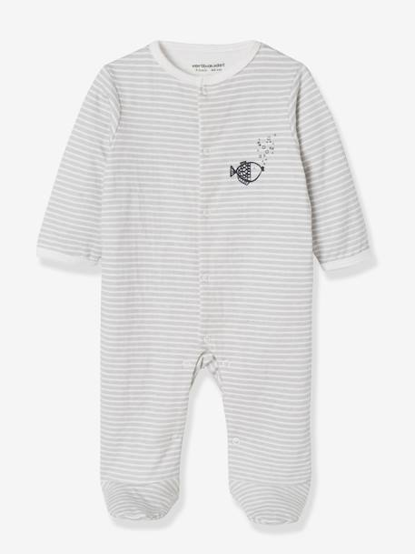 Pack of 2 Baby Sleepsuits in Double-Sided Cotton, Fish Motif GREY DARK TWO COLOR/MULTICOL - vertbaudet enfant