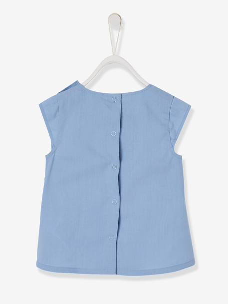 Blouse with Ruffles on the Front, for Baby Girls BLUE MEDIUM SOLID - vertbaudet enfant