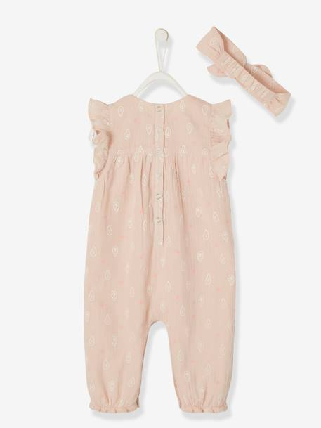 Occasion Ensemble for Newborn Baby, Printed Jumpsuit & Headband PINK LIGHT SOLID - vertbaudet enfant