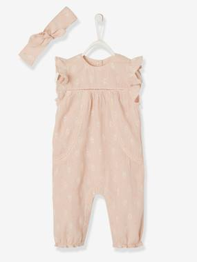 Baby-Dungarees & All-in-ones-Occasion Ensemble for Newborn Baby, Printed Jumpsuit & Headband