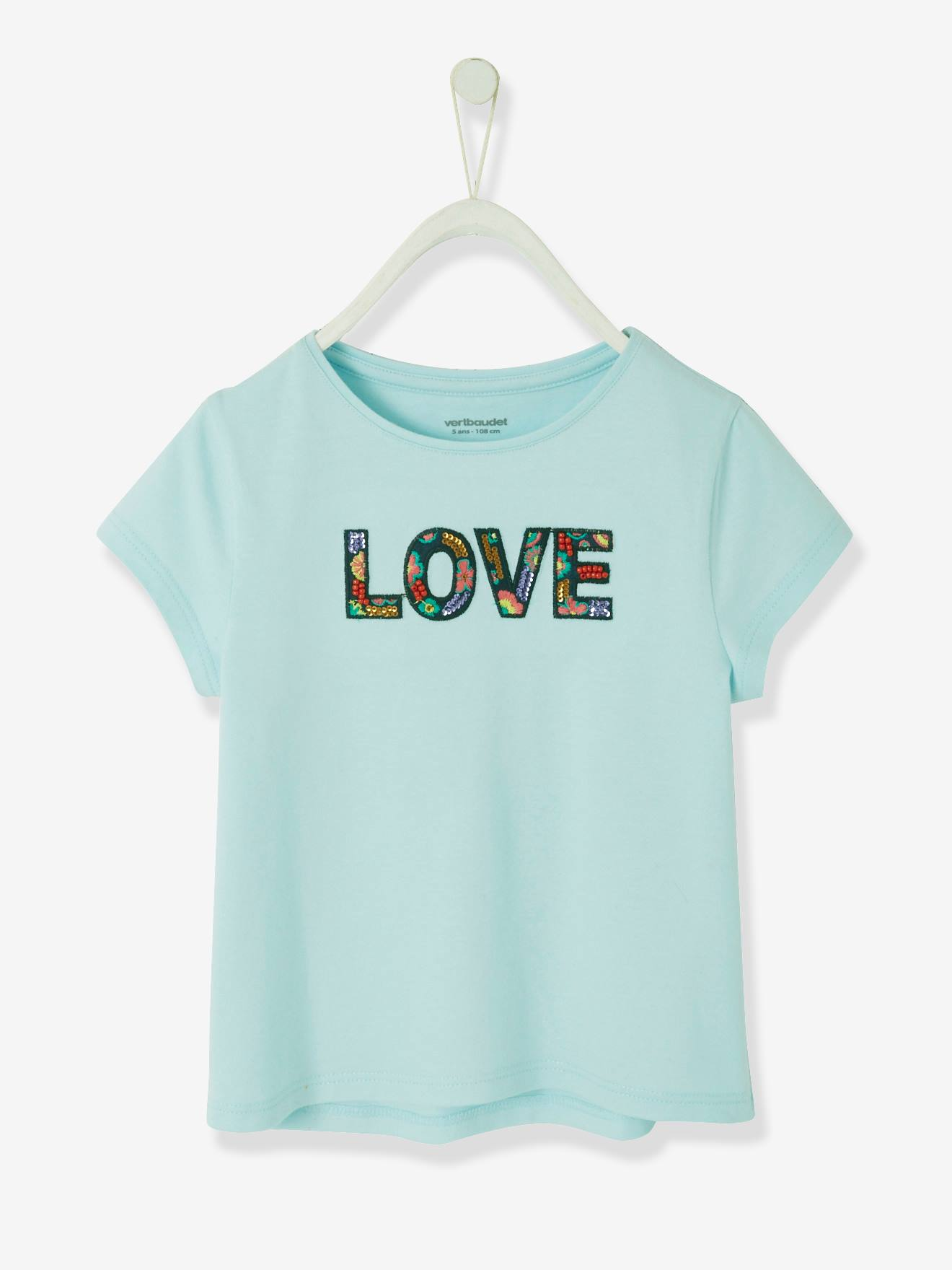 Girls Organic Cotton Blue /& Green Embroided Tops