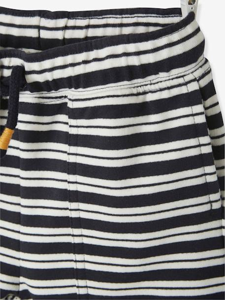 Bermuda Shorts in Printed Fleece, for Boys BLUE DARK ALL OVER PRINTED+BLUE DARK STRIPED+BLUE LIGHT ALL OVER PRINTED - vertbaudet enfant