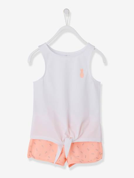 Vest Top & Shorts Ensemble for Girls, Glittery Pineapple Motif PINK LIGHT SOLID WITH DESIGN+WHITE LIGHT SOLID WITH DESIGN+YELLOW LIGHT SOLID WITH DESIGN - vertbaudet enfant