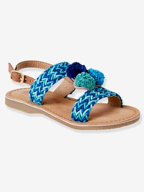 Sandals-Leather Sandals with Pompons for Girls