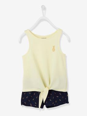 Bonnes affaires-Girls-Tops-Vest Top & Shorts Ensemble for Girls, Glittery Pineapple Motif