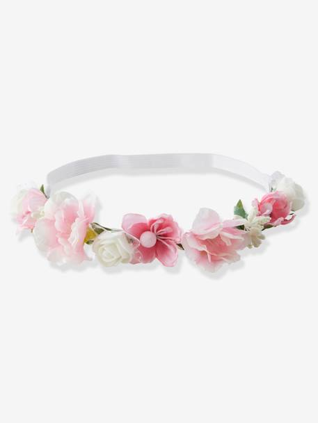 Alice Band with Flowers, for Baby Girls PINK LIGHT SOLID+WHITE LIGHT SOLID - vertbaudet enfant