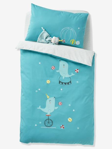 Duvet Cover for Babies, BABY CIRCUS BLUE MEDIUM SOLID WITH DESIGN - vertbaudet enfant