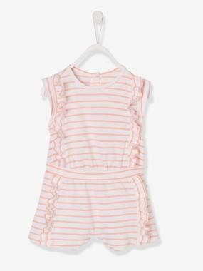Baby-Dungarees & All-in-ones-Playsuit with Frills, Iridescent Pineapples, for Baby Girls