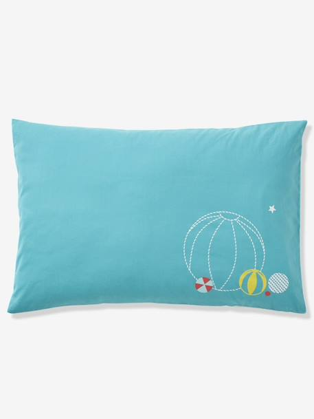 Pillowcase for Babies, BABY CIRCUS BLUE MEDIUM SOLID WITH DESIGN - vertbaudet enfant