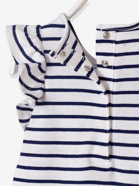 Printed Playsuit for Baby Girls WHITE LIGHT ALL OVER PRINTED+WHITE LIGHT STRIPED - vertbaudet enfant
