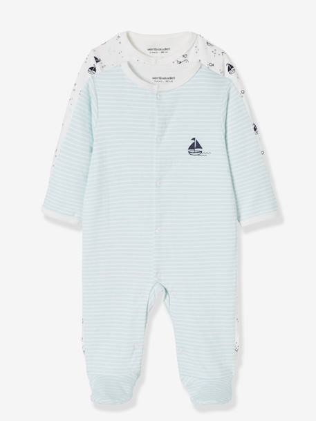 Pack of 2 Sleepsuits for Newborn Baby Boys, 'Sur Les Flots' BLUE LIGHT TWO COLOR/MULTICOL - vertbaudet enfant