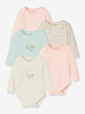 Baby-Bodysuits & Sleepsuits-Pack of 5 Long-Sleeved Bodysuits for Babies in Pure Cotton, Little Paradise