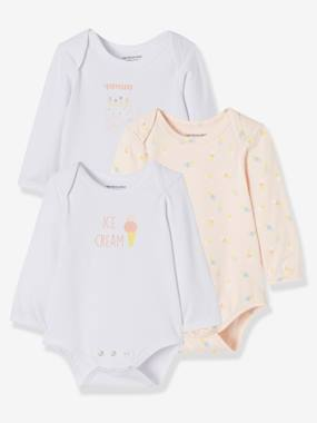 Vertbaudet Sale-Baby-Pack of 3 Progressive Bodysuits in Stretch Cotton, Long Sleeves