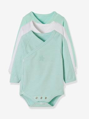 Vertbaudet Collection-Baby-Pack of 3 Progressive Bodysuits for Newborns in Stretch Cotton, Long Sleeves