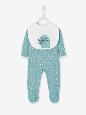 Baby-Pyjamas-Cotton Sleepsuit, Back with Press Studs + Bib for Babies