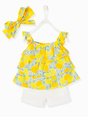 Baby-3-Piece Ensemble for Baby Girls, Blouse + Shorts + Headband