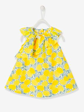 Vertbaudet Collection-Baby-Dress with Asymmetric Ruffle & Lemon Print for Baby Girls